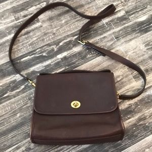 Brown Leather Coach Purse J23 9870